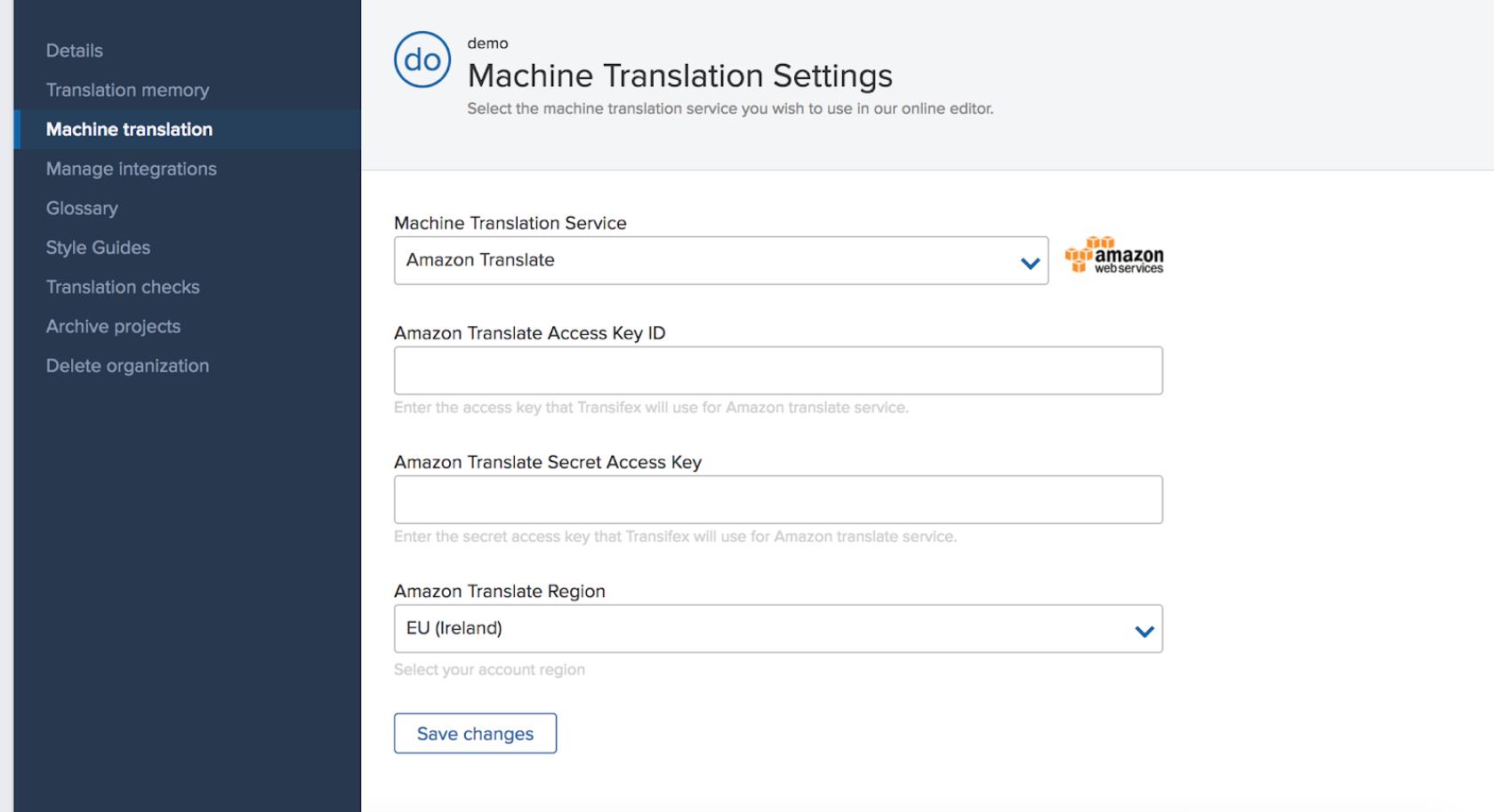 Transifex settings for machine translation - Amazon Translate